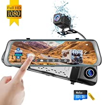 Mirror Dash Cam, Monja 1080P Backup Camera,9.88'' Touch Screen, Dual Lens with Wide Angle 170° Front and 150° Waterproof Rearview Cameras for Cars with Night Vision, Loop Record, Parking Monitor