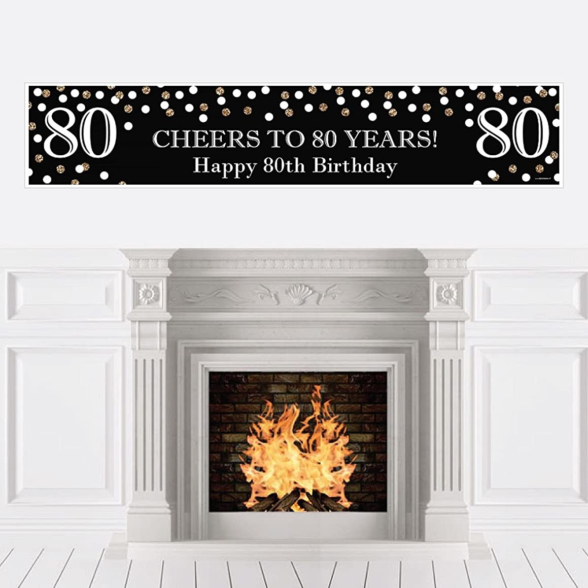 Big Dot of Happiness Adult 80th Birthday - Gold - Birthday Party Decorations Party Banner