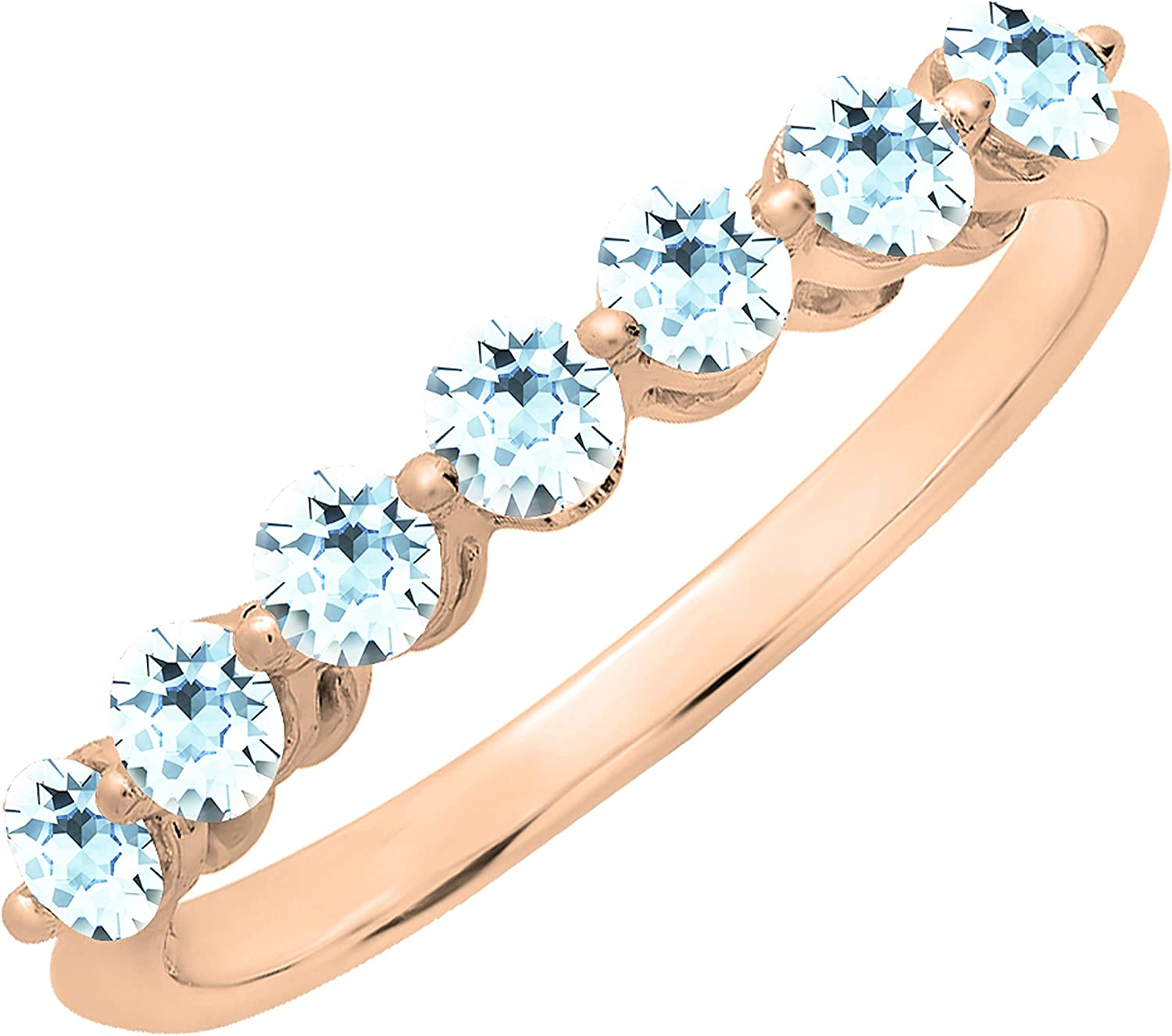 Dazzlingrock Collection Round Diamond or Gemstones Ladies Bridal Seven Stones Stackable Anniversary Wedding Band|Available in Various Metal 10K/14K/18K Gold