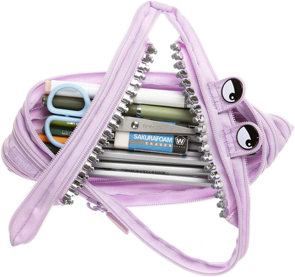 Large Capacity Pen Case for Kids and Teens Made of One Long Zipper! ZIPIT Grillz 3-Ring Binder Pencil Pouch Black