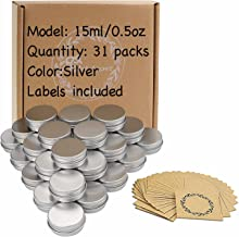Screw Top Aluminum Tin Jars Tins Empty Container with Screw Lid and Blank Marking Labels (0.5 oz Pack of 31)