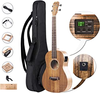 Left Handed - Caramel CB204L All Solid Acacia Baritone Acoustic Electric Ukulele with Truss Rod with D-G-B-E Strings & free G-C-E-A strings, Padded Gig Bag, Strap and EQ cable