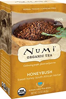 Numi Organic Tea Honeybush, 18 Count Box of Tea Bags, Herbal Teasan (Packaging May Vary)