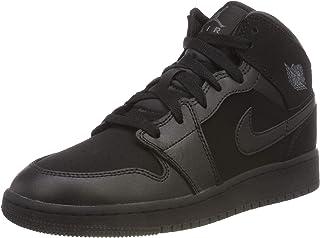 Jordan Nike Boy's Air 1 Mid Basketball Shoe (GS) Black/Dark Grey 5.5Y