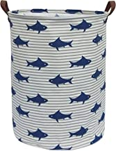 CLOCOR Large Storage Bin-Cotton storage Basket-Round Gift Basket with Handles for Toys,Laundry,Baby Nursery (Shark)