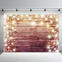 Allenjoy 7x5ft Soft Fabric Halo Glitter Rustic Wooden Backdrop Photography Pictures Stars Brown Wood Floor Wall Background for Baby Shower Bridal Wedding Newborn Birthday Party Cake Table Banner