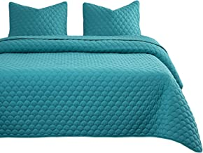 Wake In Cloud - Turquoise Quilt Set, Soft Microfiber Bedspread Coverlet Bedding (3pcs, King Size)