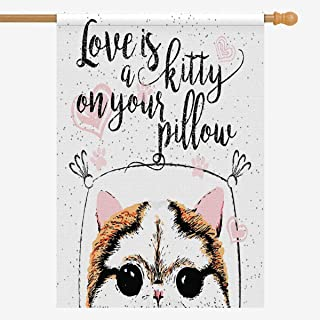 INTERESTPRINT Love is a Kitty on Your Pillow Love Quote About Pets House Flag House Banner, Home Outdoor Decor, 36