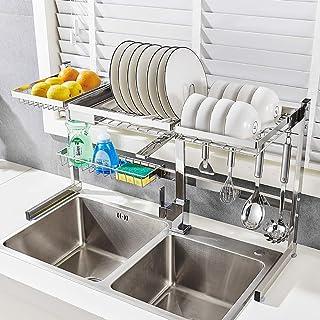 JPL Étagère de rangement de cuisine de ménage, sur le support de séchage de plat d'évier, étagère de présentation d'égoutt...