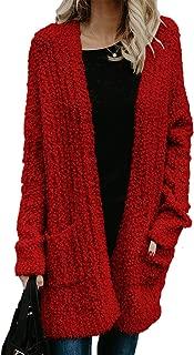 Womens' Boho Fuzzy Knitted Cardigan Chunky Sweater Sherpa Fleece Pointelle Full Sleeve Blouse
