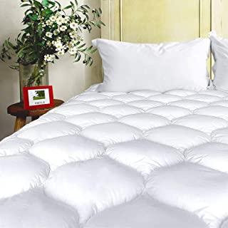 "BEL TESORO Mattress Pad Cover California King Cooling Soft Mattress Topper Combed Cotton Filled Stretches Up to 8-21"" Deep Pocket"