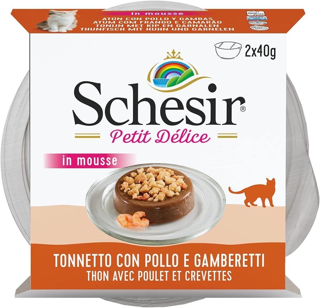 Schesir Petit Delice, Comida Húmeda para Gatos Adultos, Sabor Pollo, Bacoreta Y Gambas, Preparada En Delicado Paté - Total 960 Gr (24 Tarrinas X 40 Gr)