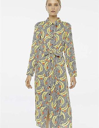 Compañía Fantastica Vestido Largo Platanos Mujer XS : Amazon ...