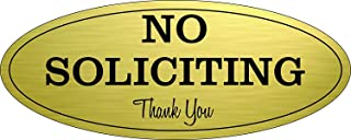 """Best No Soliciting Sign – Digitally Printed Indoor/Outdoor Sign – Durable UV and Weather Resistant (Small - 2"""" x 5"""", Gold with Black Letters) Reviews"""