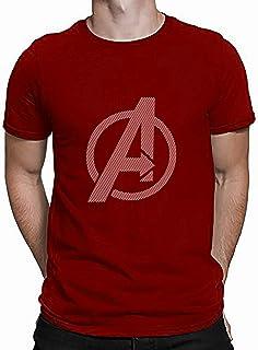 COTTVALLEY Marvel Superhero Avengers Endgame Logo Printed Round Neck Half Sleeve Cotton Tshirts for Men