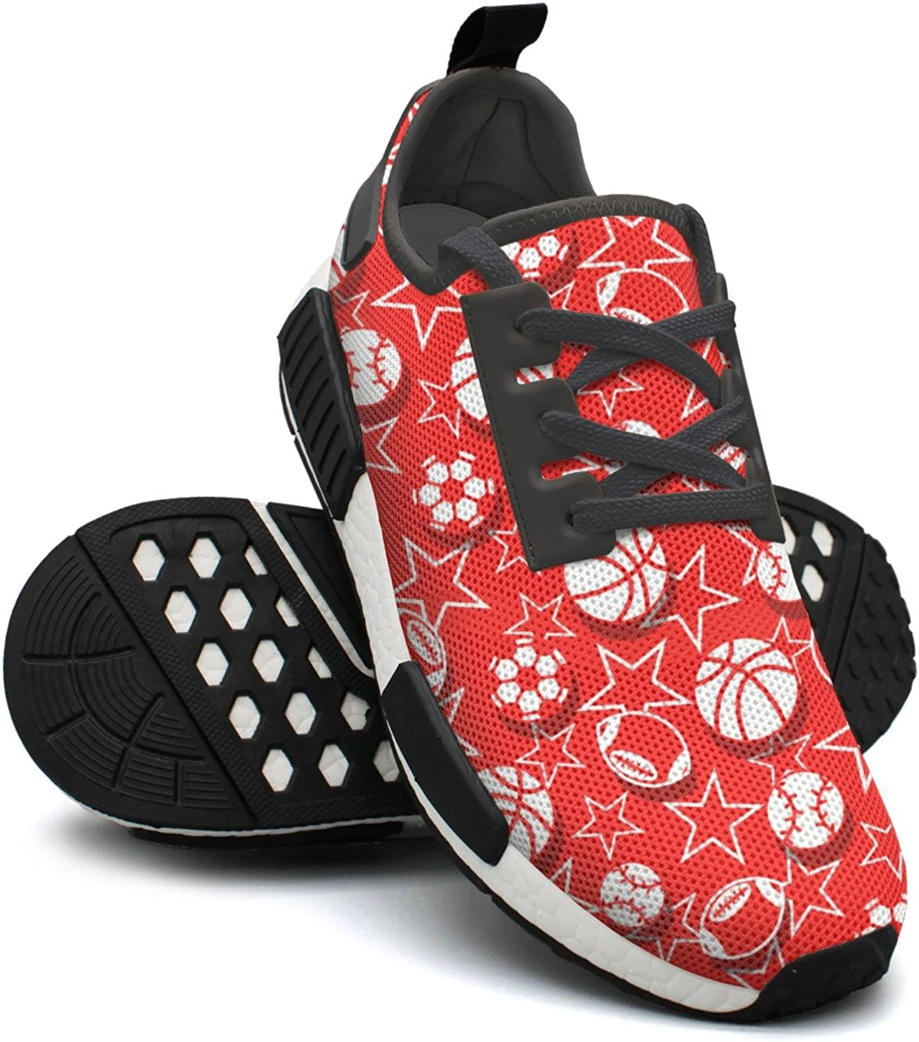 Ououla Sports Balls In Red And White Womens Breathable NMD PK Road Running shoes