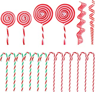 Candy Cane Bowl Filler Small Decorative Candy Canes Set of 8 Small Colorful Candy Cane Embellishments Artificial Candy