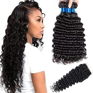 CRANBERRY HAIR Brazilian Virgin Hair 3 Bundles with Closure Deep Wave Hair 100% Unprocessed Human Hair Weave With Lace Closure Nature Black Color(18 20 22+16 closure, Middle Part)