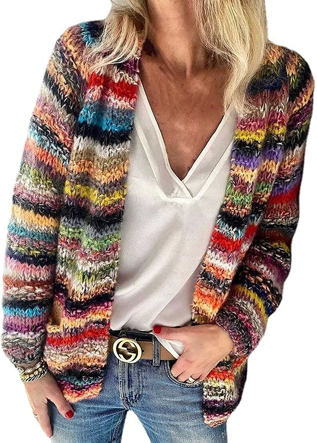 Women's Rainbow Striped Cardigan Sweaters Open Front Chunky Long Sleeve Knitwear Sweater Coat with Pockets