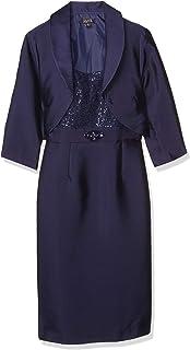 S.L. Fashions Women's Crop Jacket Over Mikado Sheath Dress