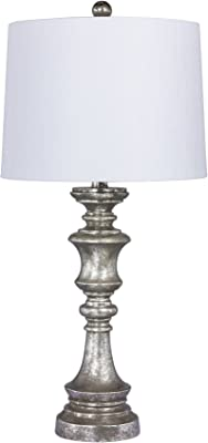 Cory Martin W-6236AS Fangio Lighting's #6236AS 27.75 in. Candlestick Resin Table Lamp in a Antiqued Silver Leaf Finish