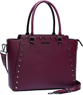 Laptop Tote Bag,15.6 Inch Laptop Briefcase for Women,Water Resistant PU Leather Computer Bags for Women,Burgundy
