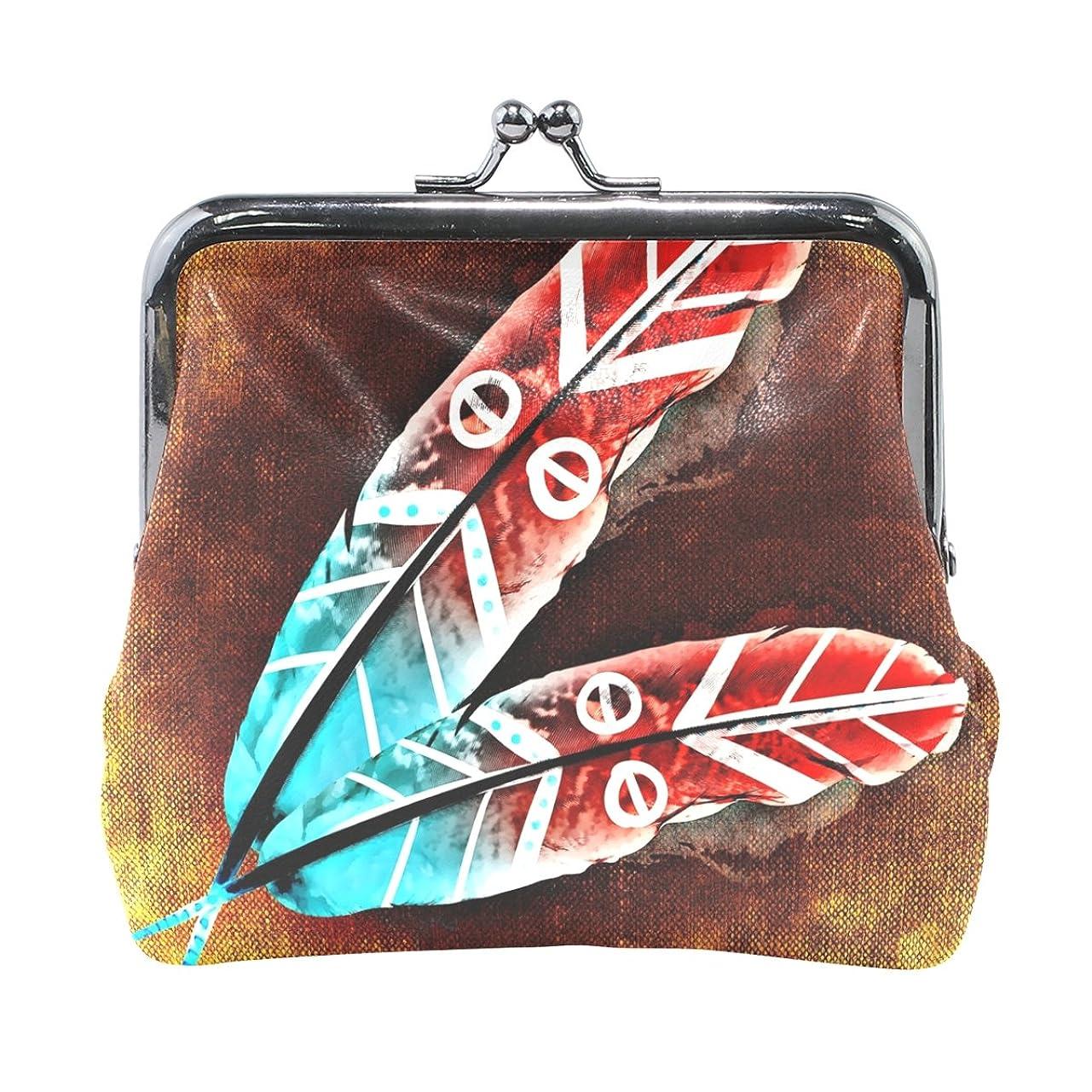 自宅で農場拡声器AOMOKI 財布 小銭入れ ガマ口 コインケース レザー 羽 インディアン風 赤 青い 綺麗