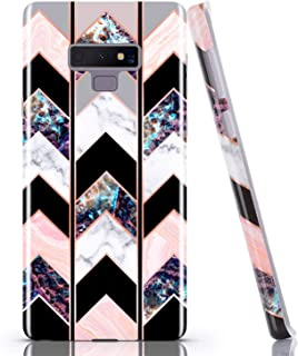 BAISRKE Galaxy Note 9 Case, Shiny Rose Gold Marble Wave Geometric Case Slim Soft TPU Rubber Bumper Silicone Protective Phone Case Cover for Galaxy Note 9 (Black)
