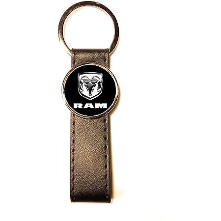 Schlüsselanhänger Stahl Kunstleder Classic Circle Dodge Ram Schwarz Bekleidung