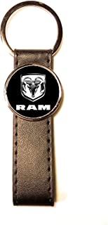 Schlüsselanhänger Stahl / Kunstleder Classic Circle Dodge RAM schwarz