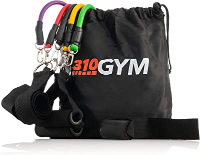 310 Nutrition Resistance Band Set Fitness Resistant Bands with Handle and Carrying Bag - Great Exercise to Work Out Legs, Arms, Chest, and Shoulders