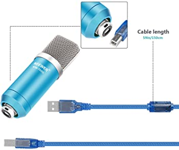 Neewer USB Microphone with Suspension Scissor Arm Stand, Shock Mount, Monitor Headphone, Pop Filter, USB Cable and Ta...