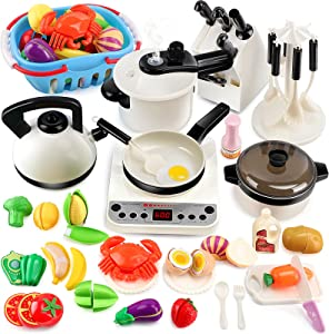 BeebeeRun Kitchen Toys,Kids Kitchen PlaySet with Electronic Induction Cooktop, Steam Pressure Pot,Cookware,Pretend Play Kitchen Accessories,Cut Play Food,Shopping Basket,Learning Gifts for Girls Boys