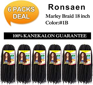 Afro Kinky Marley Braids Hair Extensions Kanekalon Synthetic Twist Crochet Braiding Hair 18 inch (18