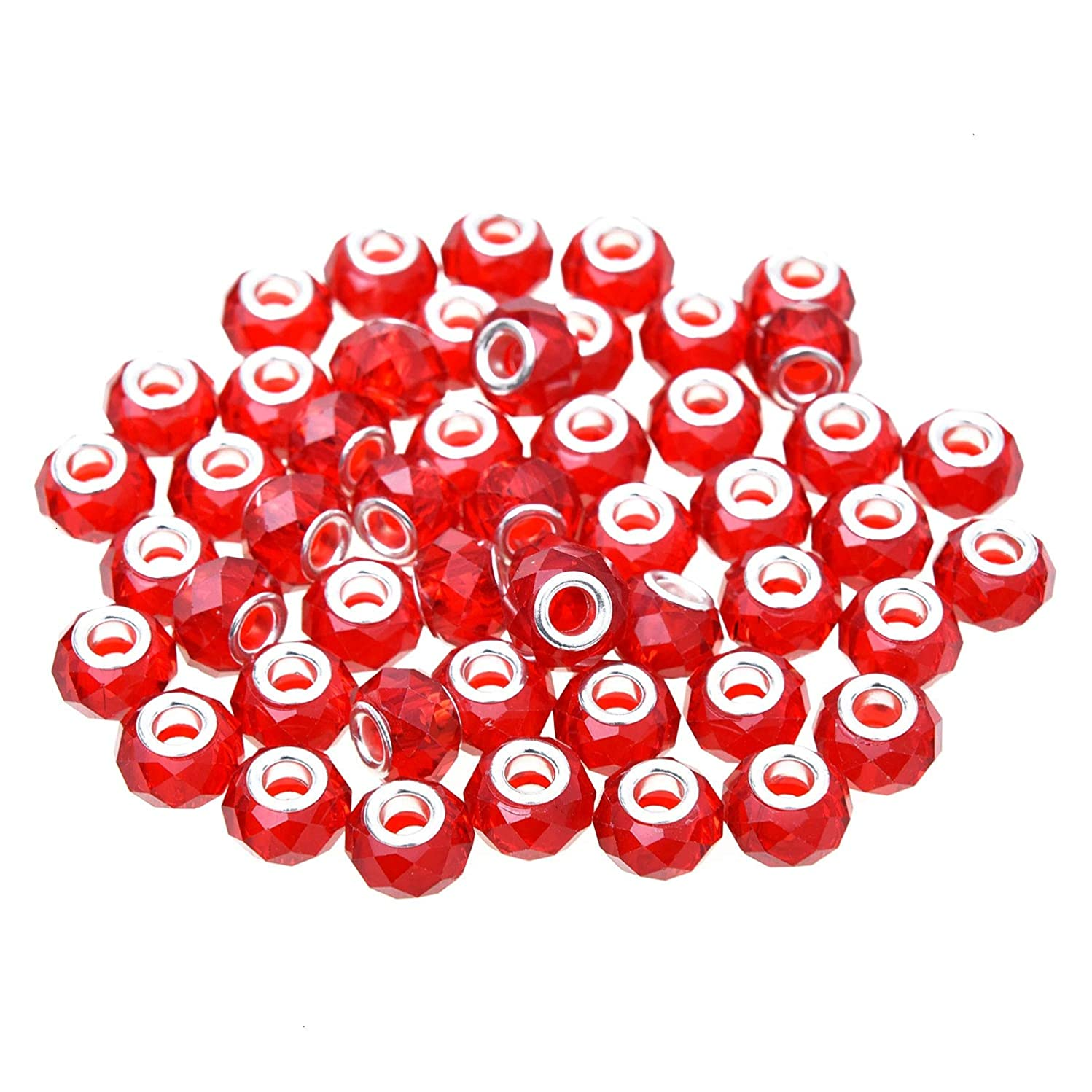 Monrocco Red Crystal Glass Charms, 50Pcs Handmade Faceted Rondelle Large Hole Murano Glass European Beads