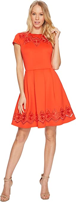 Cheskka Lace and Mesh Skater Dress