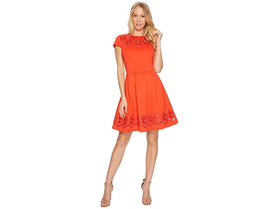 Ted Baker Cheskka Lace and Mesh Skater Dress (Bright Red) Women