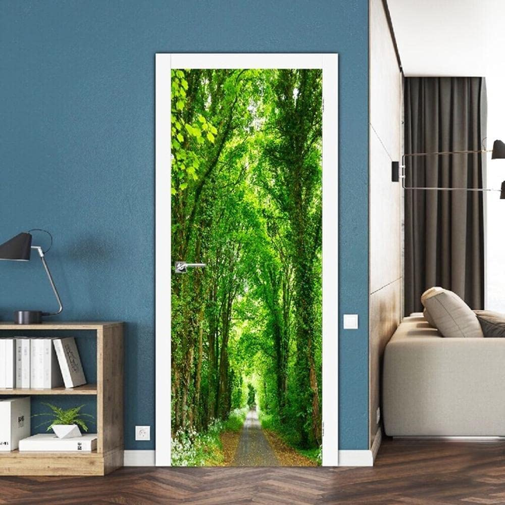 3D Tucson Luxury goods Mall Stickers Green Forest Path Door Sticker Scenery Self-Adhes