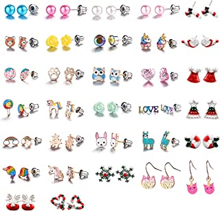 Hypoallergenic Earrings for Girls Kids, 32 Pairs Colorful Stud Christmas Earrings, Animal Alpaca Rainbow Unicorn Cute Earring Jewelry Set Gifts for Girls Kids Women