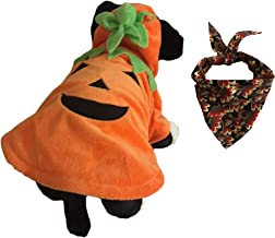 Hope's Gifts Pumpkin Halloween Costume Outfit for Pet Dog Cat or Puppy with a Jack- O- Lantern Design Comes with a Thanksgiving Bandanna Scarf Neckerchief Bib