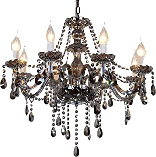 MAMEI Traditional 6 Lights Grey Glass Candle Crystal Chandelier