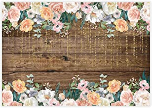 Allenjoy 7x5ft Rustic Floral Wooden Backdrop for Boho Baby Bridal Shower Wedding Graduation Photography Pictures Brown Wood Floor Flower Wall Background Newborn Birthday Party Banner Photo Shoot Booth