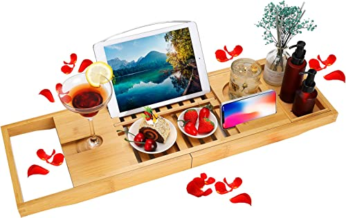 BRITOR Bathtub Caddy Trays - Premium Bamboo Bath Trays with Extending Sides, Reading Rack, Tablet Holder, Cell Phone ...