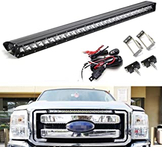 iJDMTOY Upper Grille Mount 30-Inch LED Light Bar Kit For 2011-2016 Ford F250 F350 Super Duty, Includes (1) 150W High Power CREE LED Lightbar, Grill Mounting Brackets & On/Off Switch Wiring Kit
