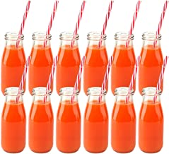 Kingrol 12 Pack Reusable Glass Milk Bottles, 11 oz Vintage Dairy Bottles with Straws & Metal Screw on Lids, Milk Bottle for Parties, Weddings, BBQ, Picnics