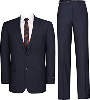 P&L Men's Two-Piece Classic Fit Single Breasted Suit Blazer Tux & Flat Front Trousers