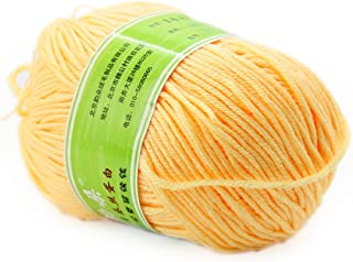 Joylve Knitting Yarn Baby Super Smooth Worsted Soft Natural Silk Wool Fiber Apricot Cream