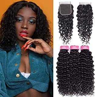B-fashion Brazilian Water Wave Human Hair Bundles with Closure (12 14 16+10) 10A Virgin Unprocessed Wet and Wavy Human Hair Weave 3 Bundles with Free Part Closure
