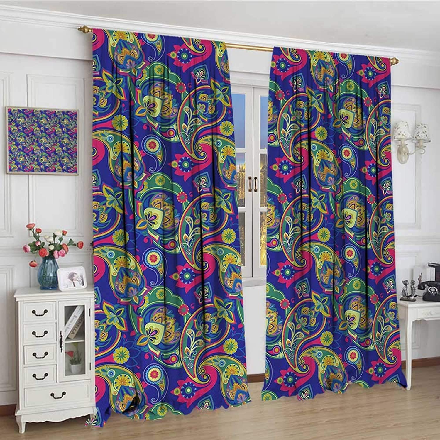 Smallbeefly Paisley Thermal Insulating Blackout Curtain Classic Persian Jacquard Boteh Ikat Motifs Old Welsh Pears Artwork Patterned Drape for Glass Door 72 x96  Indigo and Olive Green