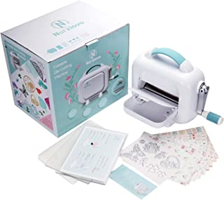 NURXIOVO Manual Die Cutting Machine Foldaway Embossing Machine 6 Inch Opening DIY Dies Tool with Foldable Lever, Cutting Dies, Designed Card Paper, Cutting Pads and Platform